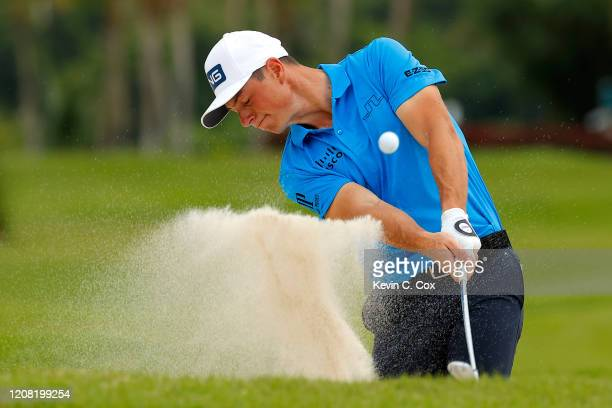 Viktor Hovland of Norway plays a shot from a bunker on the third hole during the final round of the Puerto Rico Open at Grand Reserve Country Club on...