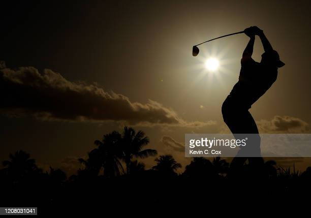Viktor Hovland of Norway plays his shot from the 18th tee during the third round of the Puerto Rico Open at Grand Reserve Country Club on February 22...