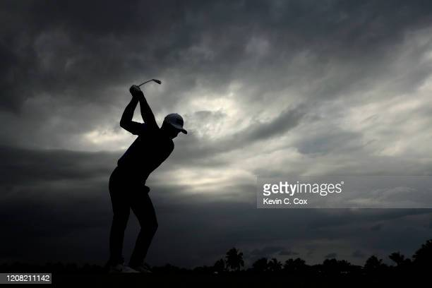 Viktor Hovland of Norway plays his shot from the eighth tee during the final round of the Puerto Rico Open at Grand Reserve Country Club on February...