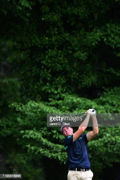 Viktor Hovland of Norway plays his shot from the ninth tee during the third round of the Wyndham Championship at Sedgefield Country Club on August...