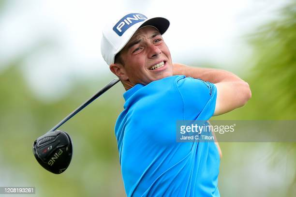 Viktor Hovland of Norway plays his shot from the second tee during the final round of the Puerto Rico Open at Grand Reserve Country Club on February...