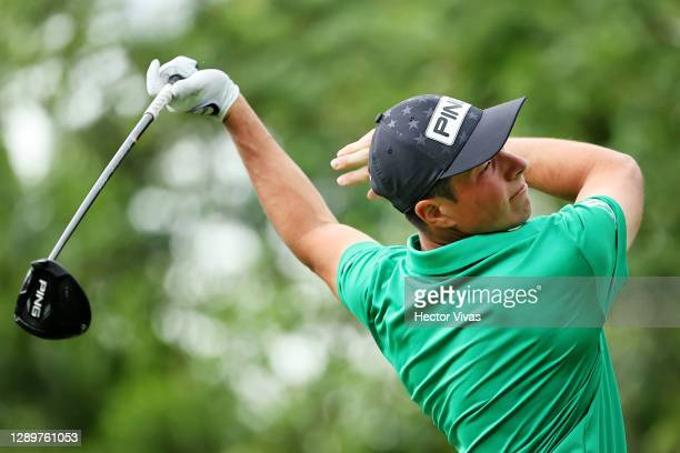 Viktor Hovland of Norway plays his shot from the seventh tee during the final round of the Mayakoba Golf Classic at El Camaleón Golf Club on December...