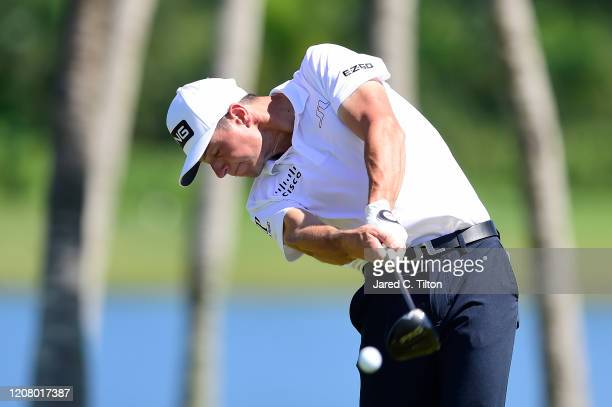 Viktor Hovland of Norway plays his shot from the third tee during the third round of the Puerto Rico Open at Grand Reserve Country Club on February...