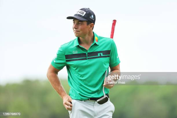 Viktor Hovland of Norway reacts on the seventh green during the final round of the Mayakoba Golf Classic at El Camaleón Golf Club on December 06,...