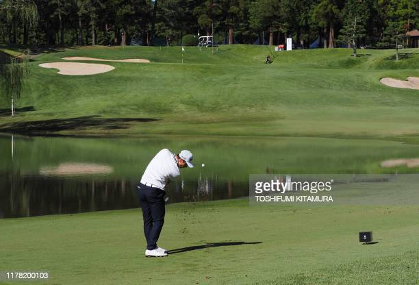 Viktor Hovland of Norway tees off at the shortened 10th hole during the second round of the PGA Zozo Championship golf tournament at the Narashino...