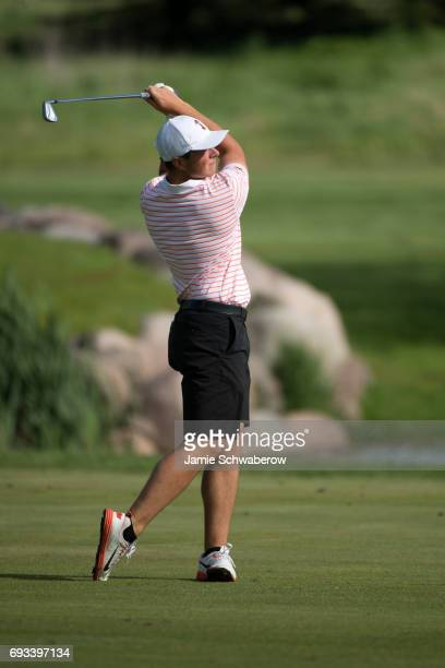 Viktor Hovland of Oklahoma State University hits an approach shot during the Division I Men's Golf Individual Championship held at Rich Harvest Farms...