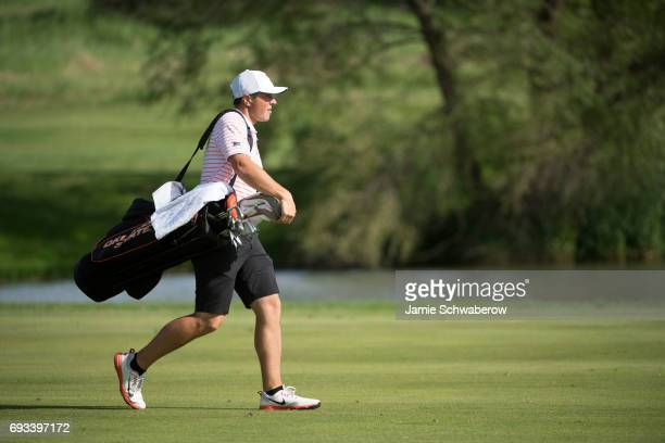 Viktor Hovland of Oklahoma State University walks the course during the Division I Men's Golf Individual Championship held at Rich Harvest Farms on...