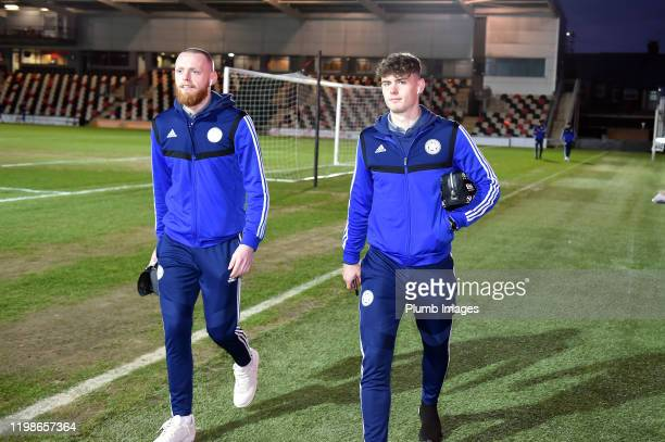 Viktor Johansson and Darragh O'Connor of Leicester City arrive before the Leasingcom quarter final match between Newport County and Leicester City...