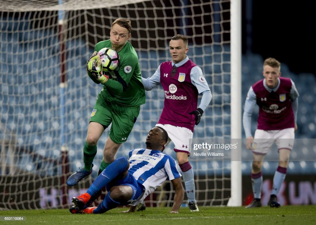 Viktor Johansson of Aston Villa during the Premier League 2 match between Aston Villa and Brighton & Hove Albion at Villa Park on March 13, 2017 in Birmingham, England.