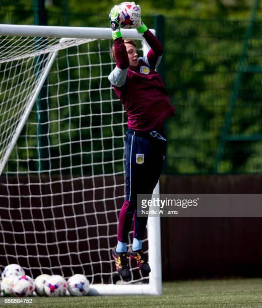 Viktor Johansson of Aston Villa in action during a Aston Villa U23's training session at the club's training ground at Bodymoor Heath on May 22 2017...