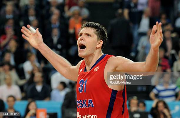 Viktor Khryapa, #31 of CSKA Moscow celebrates victory during the Turkish Airlines EuroLeague Final Four Semi Final match between CSKA Moscow and...