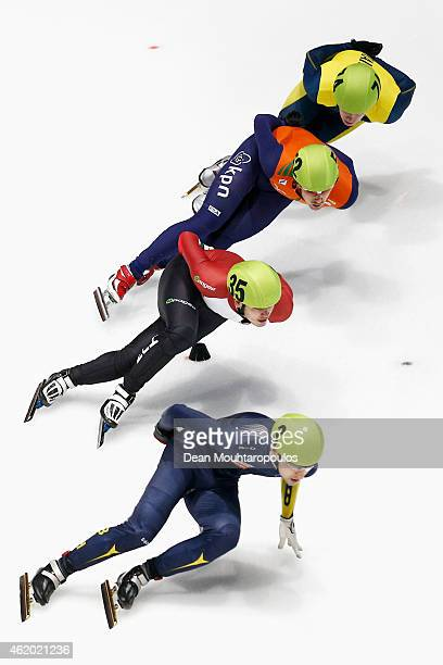 Viktor Knoch of Hungary #3 Edin Brankovic of Bosnia Herzegovina #52 Freek van der Wart of the Netherlands and Serhiy Lifyrenko of Ukraine compete in...