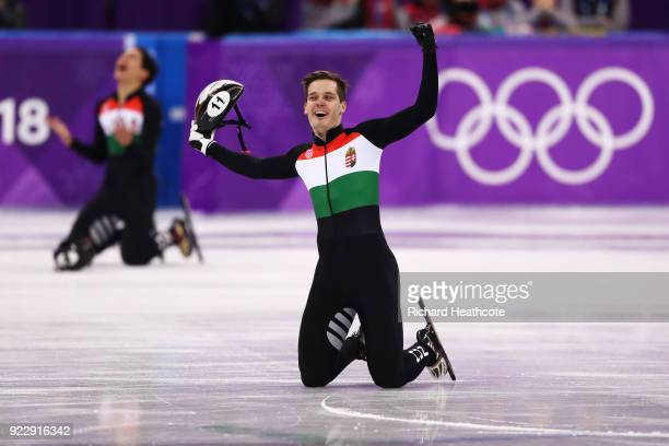 Viktor Knoch of Hungary celebrates winning the gold medal during the Men's 5000m Relay Final A on day 13 of the PyeongChang 2018 Winter Olympic Games...
