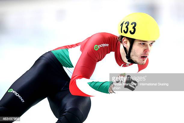 Viktor Knoch of Hungary competes in the Men's 500m A final on day two of the ISU World Cup Short Track Speed Skating on February 15 2015 in Erzurum...