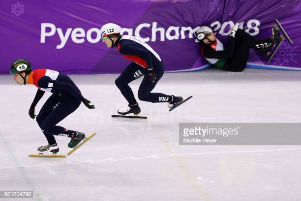 Viktor Knoch of Hungary crashes out during the Men's Short Track Speed Skating 500m Heats on day eleven of the PyeongChang 2018 Winter Olympic Games...