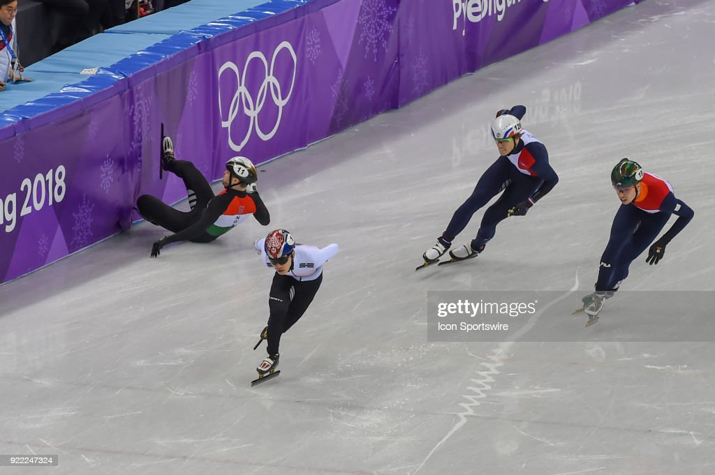 Viktor Knoch (HUN) slides hard into the barrier during the Men's 500M Heat 3 race won by Yira Seo (JPN) during the 2018 Winter Olympic Games at the Gangneung Ice Arena on February 20, 2018 in PyeongChang, South Korea.