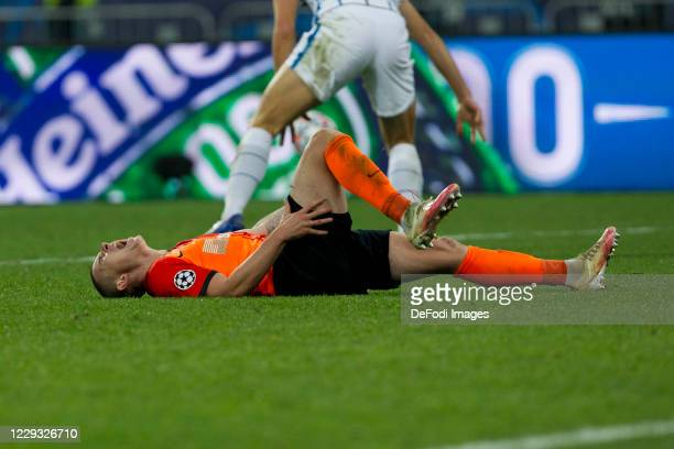 Viktor Korniienko of Shakhtar Donetsk lies on the ground during the UEFA Champions League Group B stage match between Shakhtar Donetsk and FC...