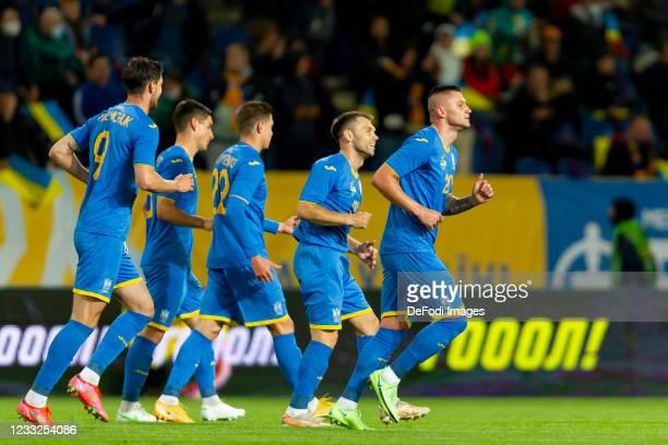 Viktor Kovalenko of Ukraine celebrates after scoring his team's first goal during the international friendly match between Ukraine and Northern...