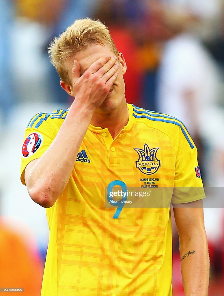 Viktor Kovalenko of Ukraine shows his despair after the UEFA EURO 2016 Group C match between Ukraine and Poland at Stade Velodrome on June 21, 2016 in Marseille, France.