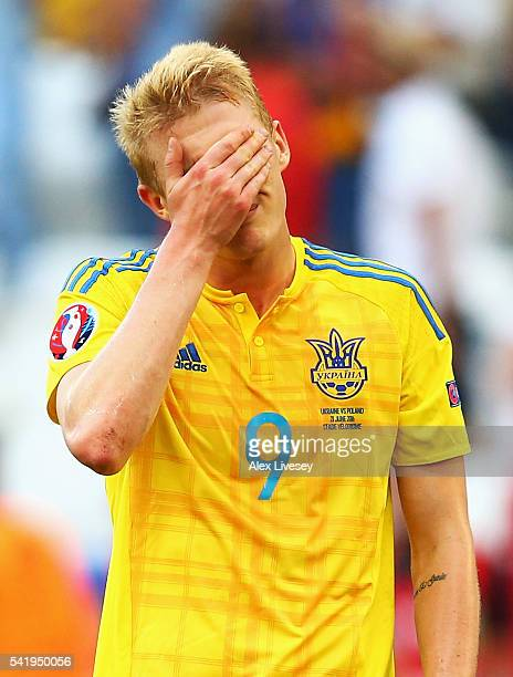 Viktor Kovalenko of Ukraine shows his despair after the UEFA EURO 2016 Group C match between Ukraine and Poland at Stade Velodrome on June 21 2016 in...