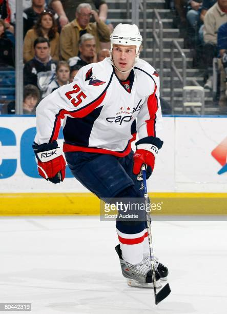 Viktor Kozlov of the Washington Capitals skates against the Tampa Bay Lightning at St. Pete Times Forum on March 27, 2008 in Tampa, Florida.