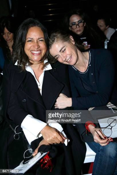 Viktor Lazlo and Anne Consigny attend the Alexis Mabille show as part of the Paris Fashion Week Womenswear Fall/Winter 2017/2018 on March 2 2017 in...