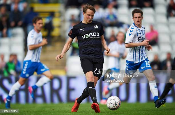 Viktor Lundberg of Randers FC in action during the Danish Alka Superliga match between OB Odense and Randers FC at EWII Park on May 20 2017 in Odense...