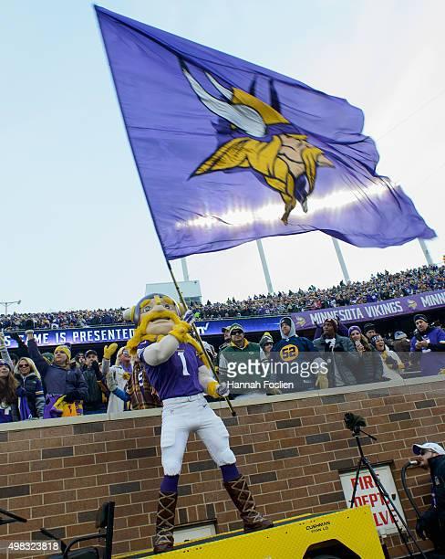 Viktor mascot for the Minnesota Vikings performs before the game between the Minnesota Vikings and the Green Bay Packers on November 22 2015 at TCF...