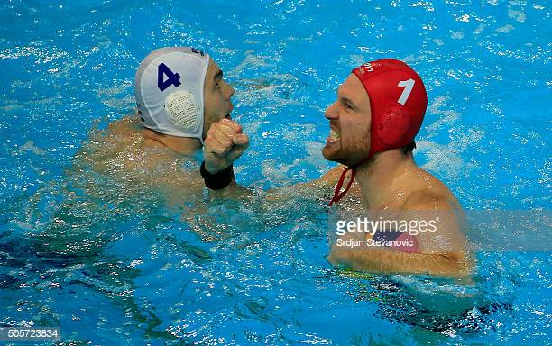 Viktor Nagy and Balasz Erdelyi of Hungary celebrate during the Quarter final match Hungary and Croatia at the Waterpolo European Championships in...