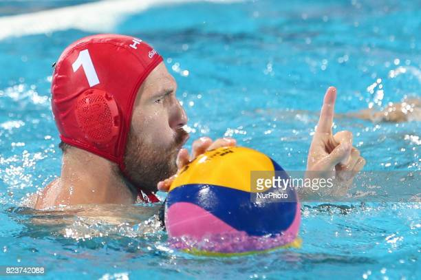 Viktor Nagy in action during semifinal water polo match between Hungary and Greece at the FINA2017 world championships on July 27 in the Hajos Alfred...