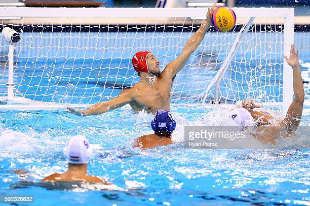 Viktor Nagy of Hungary makes a save during the Men's Water Polo 5th 6th Classification match between Hungary and Greece on Day 15 of the Rio 2016...
