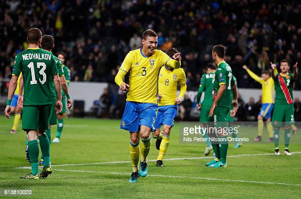 Viktor Nilsson Lindelof of Sweden celebrates after scoring to 30 during the FIFA 2018 World Cup Qualifier between Sweden and Bulgaria at Friends...