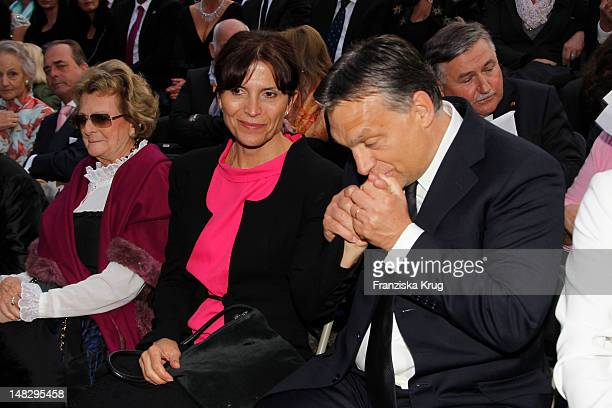 Viktor Orban and his wife Aniko Levai attend the opera 'The Magic Flute' at the Thurn Taxis Castle Festival Opening on July 13 2012 in Regensburg...