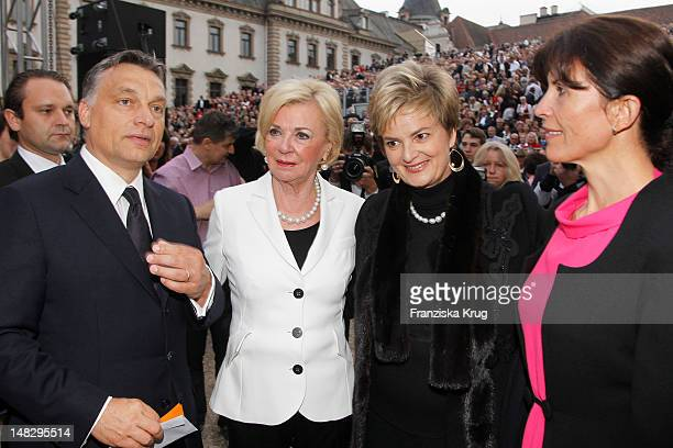 Viktor Orban and Liz Mohn and Gloria von Thurn und Taxis and Aniko Levai attend the opera 'The Magic Flute' at the Thurn Taxis Castle Festival...