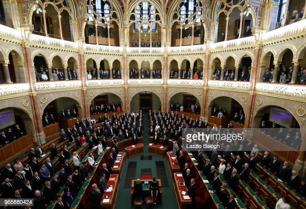 Viktor Orban attends a session at the Hungarian Parliament in which the National Assembly was expected to elect him for another term as Hungarian...