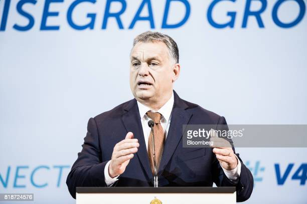 Viktor Orban Hungary's prime minister gestures as he speaks during a news conference in Budapest Hungary on Wednesday July 19 2017 The European...