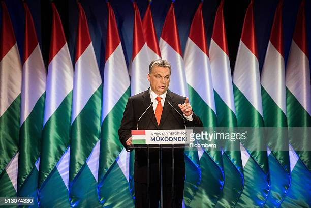 Viktor Orban Hungary's prime minister gestures as he speaks during an annual state address in Budapest Hungary on Sunday Feb 28 2016 Hungary's...