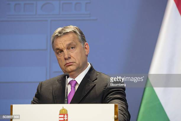 Viktor Orban Hungary's prime minister looks on during a joint news conference with David Cameron UK prime minister in Budapest Hungary on Thursday...