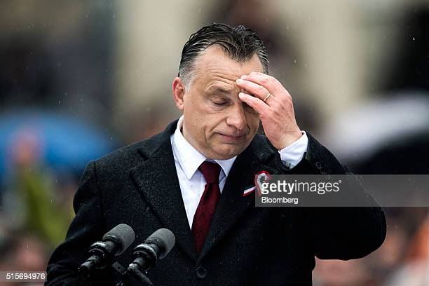 Viktor Orban Hungary's prime minister reacts during an official address outside the National Museum of Hungary in Budapest Hungary on Tuesday March...