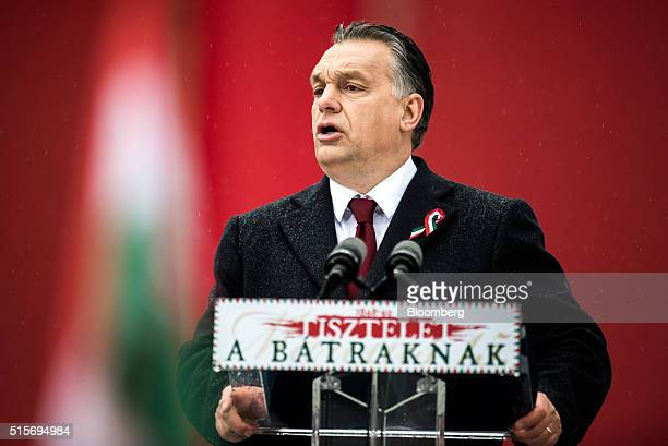 Viktor Orban Hungary's prime minister speaks during an official address outside the National Museum of Hungary in Budapest Hungary on Tuesday March...