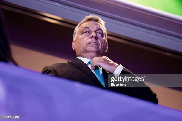 Viktor Orban Hungary's prime minister stands during the judo world championships in Budapest Hungary on Monday Aug 28 2017 Vladimir Putin Russias...