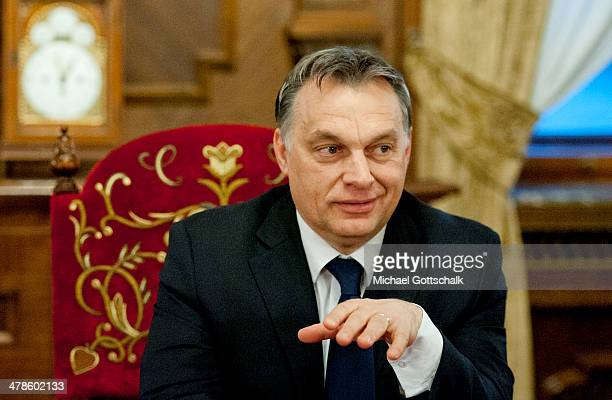 Viktor Orban Prime Minister of Hungary attends a meeting with German Foreign Minister FrankWalter Steinmeier on March 13 2014 in Budapest Hungary...