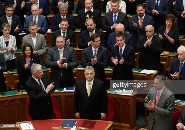 Viktor Orban takes his oath to serve a fourth term as Hungarian prime minister on May 9 2018 in Budapest Hungary Orban and his party Fidesz won a...