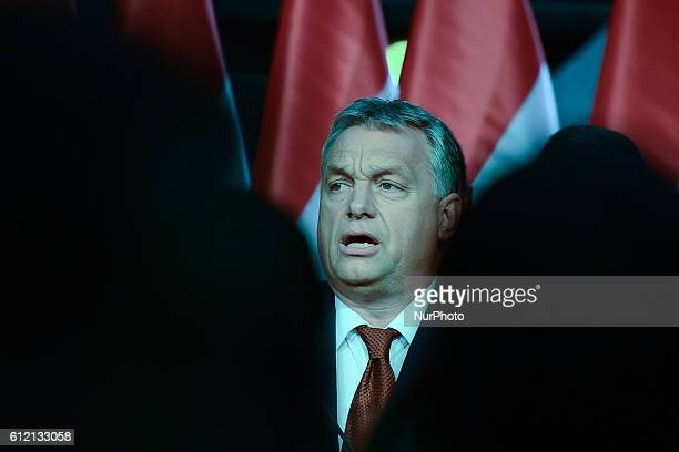 Viktor Orban the Hungarian PM addresses his party members after the Hungarian migrant quota referendum that took place today On Sunday 2nd October...