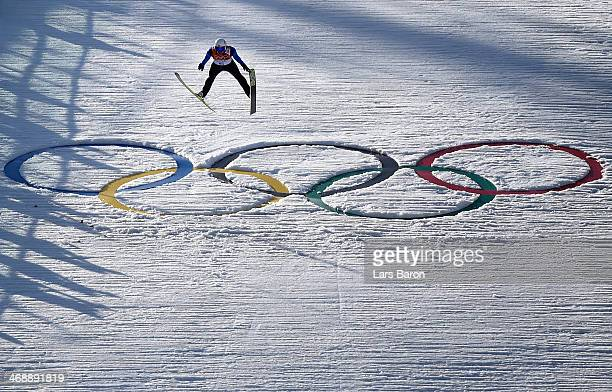 Viktor Pasichnyk of Ukraine competes during the Nordic Combined Individual Gundersen Normal Hill and 10km Cross Country on day 5 of the Sochi 2014...