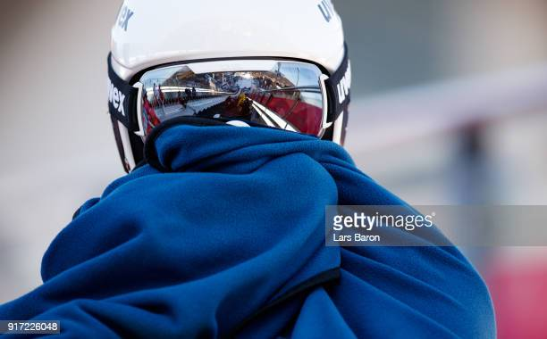 Viktor Pasichnyk of Ukraine is seen during the Nordic Combined Individual Gundersen NH/10km official training on February 12, 2018 in...