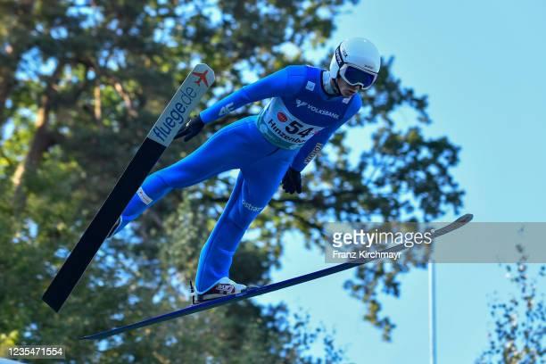 Viktor Polasek of Czech Republic competes during the FIS Grand Prix Skijumping Hinzenbach at on February 6, 2021 in Eferding, Austria.
