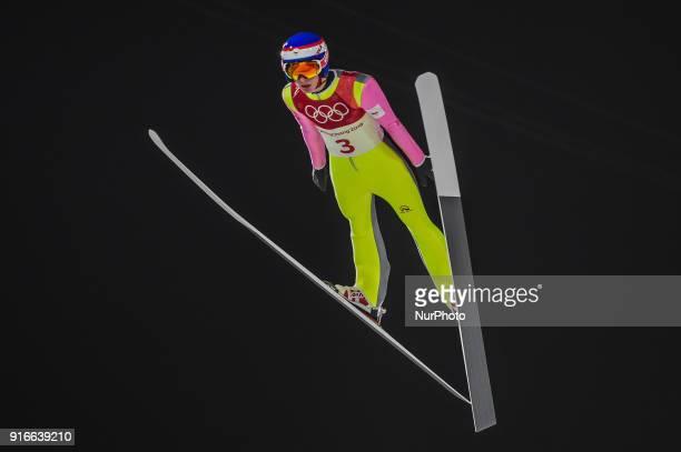 Viktor Polasek ofCzech Republic at mens normal hill final at 2018 Pyeongchang winter olympics at Alpensia Ski Jumping Centre, Pyeongchang, South...