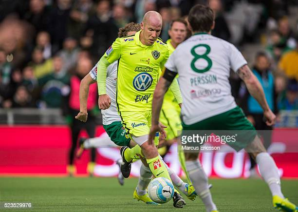 Viktor Ronneklev of Jonkopings Sodra during the Allsvenskan match between Hammarby IF and Jonkoping Sodra IF at Tele2 Arena on April 23 2016 in...