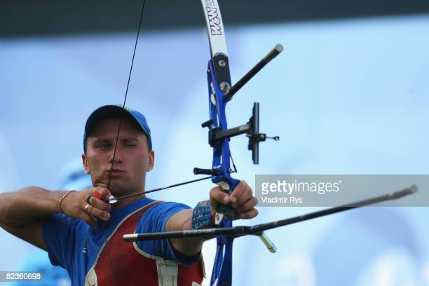 Viktor Ruban of Ukraine competes in the Men's Individual 1/8 Eliminations at the Olympic Green Archery Field on Day 7 of the Beijing 2008 Olympic...